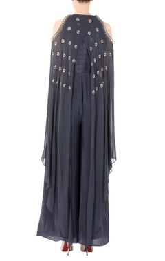 Charcoal grey jumpsuit with gray stones and sequence