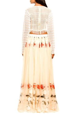 Ivory crop top & beige floral skirt