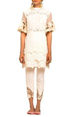 Ivory lace & mesh tunic