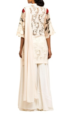 ivory cut work sharara set