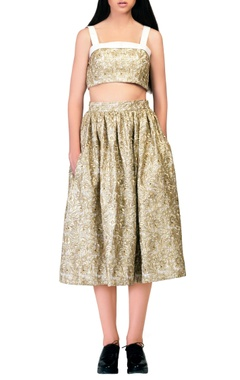 Gold embroidered midi skirt.