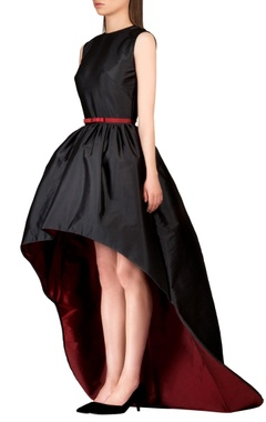 Black & burgundy high low dress