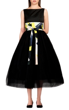 black bouffant tea dress
