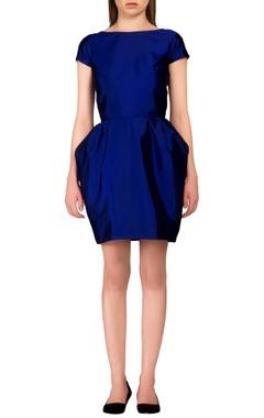 blue pouf style dress