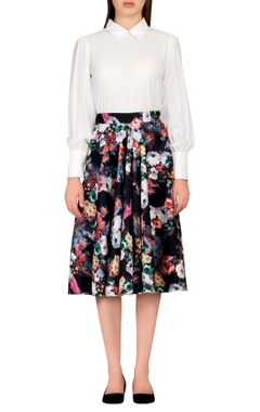 Multicolored floral scuba style skirt