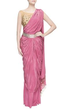 pink embellished concept sari