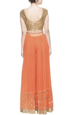 Orange & gold gota embroidered kurta set
