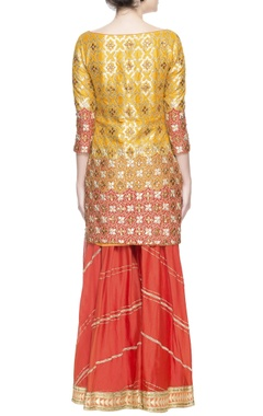 yellow & red embellished sharara set