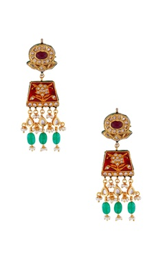 Maisara Red & green gold plated earrings