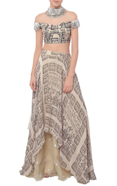 Off white printed lehenga set
