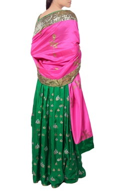 Forest green bustier and lehenga set