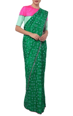 Green tribal sari with blouse