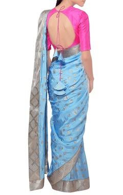Blue lotus print sari  pink