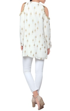 White cold shoulder tunic with golden print