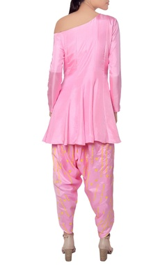 Pink draped pant and kurta set
