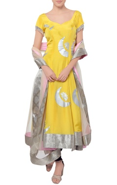 Yellow crescent moon anarkali set