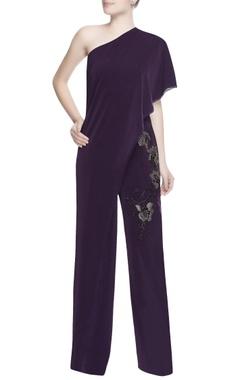 Dark purple one shoulder jumpsuit