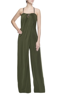 Seaweed green embroidered jumpsuit