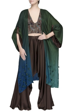 Blue and green ombre cape
