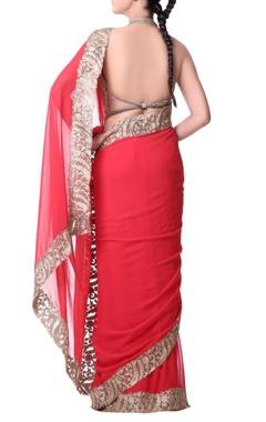 Coral red sari with zari embroidery