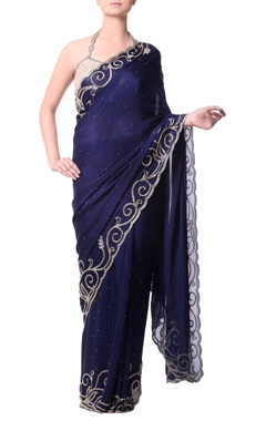 Navy blue sari with gold bugle embroidery