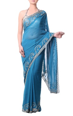 teal blue sari with gold bugle embroidery