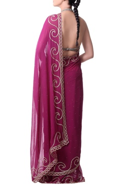 orchid pink sari with gold bugle embroidery