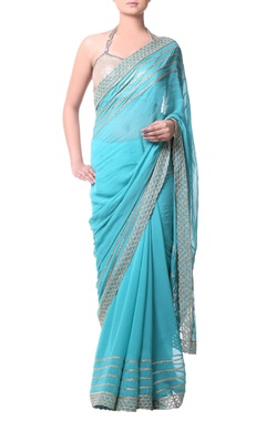 Sky blue sari with gold bugle embroidery