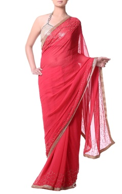 coral red sari with zari embroidery