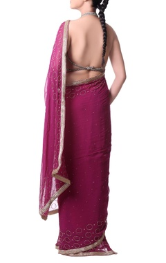 Orchid pink sari with gold embroidery