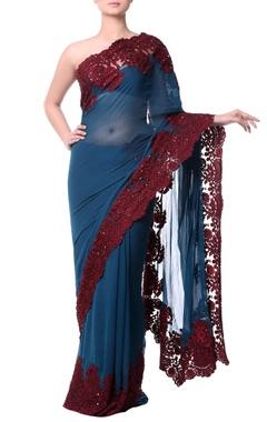 Dark teal blue sari with burgundy chantilly lace