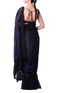 navy blue sari with black chantilly lace