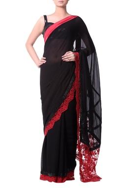 Black sari with white chantilly lace border
