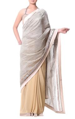 Beige sari with metallic thread embroidery