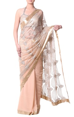 gold sari with metallic thread embroidery