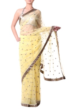 yellow sari with gold sequence