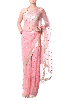 peach sari with sequence embroidery