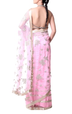 pink sari with gold sequence