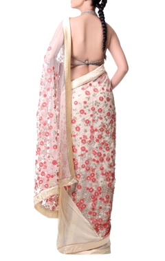 beige sari with coral red floral embroidery