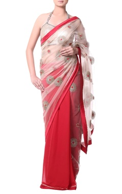 red sari with floral zari gold embroidery
