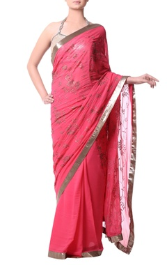 pink sari with antique gold sequence