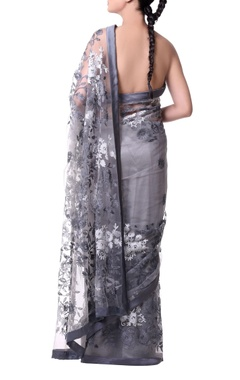 grey sari with floral jaal embroidery