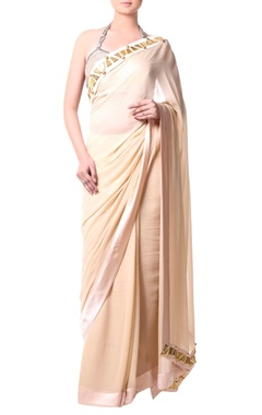 Beige sari with metallic stud embroidery
