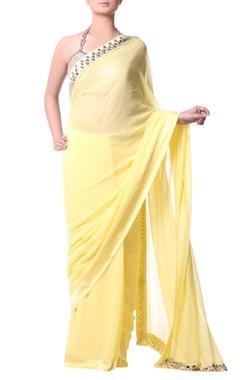 yellow sari with metallic embroidery