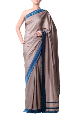 pewter beige sari with aqua stones embroidery