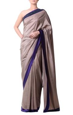 Pewter beige sari with stone border