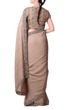 Beige sari with Zardosi hand embroidery