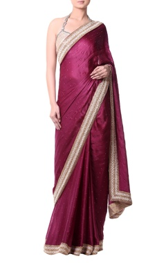 plum sari with gold embroidery