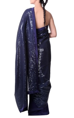 Navy blue georgette saree with sequence sheeting