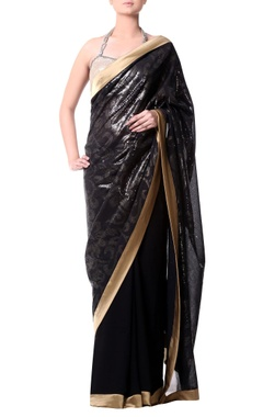 black gold border sari